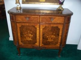 Antique French Marquetry Inlay Chest with Key