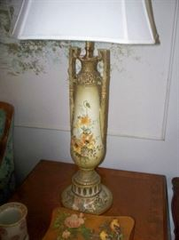 Antique Handpainted Base Lamp - Pair