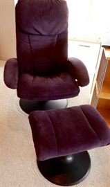 WONDERFUL PURPLE SUEDE CHAIR AND OTTOMAN