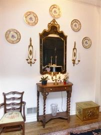 Chinese Chinoiserie Mirror over Vintage Walnut Console Table with Single Drawer & Barley Twist Legs