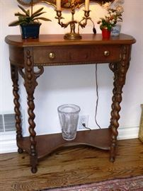 Vintage Walnut Console Table with Single Drawer & Barley Twist Legs