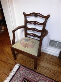 Child's Chippendale-style Armchair with Peter Rabbit Needlepoint Seat