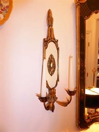 Pair Italian Gilt Wood and Brass Candle Sconces