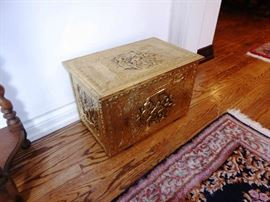 Embossed Brass Fireside Box