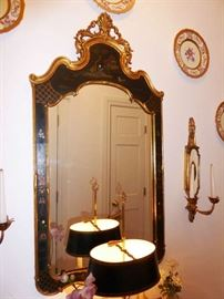 Chinese Hand Painted Chinoiserie Mirror