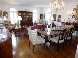 Beautiful Vintage Mahogany Furnishings in Living Room and Dining Room