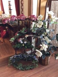 Silk flower sprays and vintage corner shelf