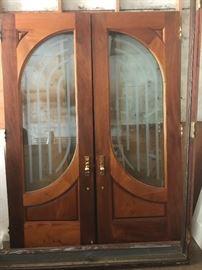 "Custom mahogany entry doors,6' wx. 8' high 2-3:4"" thick, Baldwin mortised lockset."