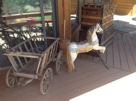 New Mexico horse. - vintage goat cart