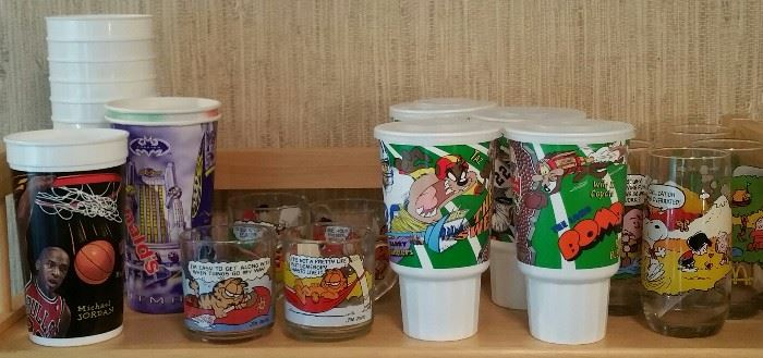 Collector's Basketball, Olympics, Snoopy, Garfield cups and glasses