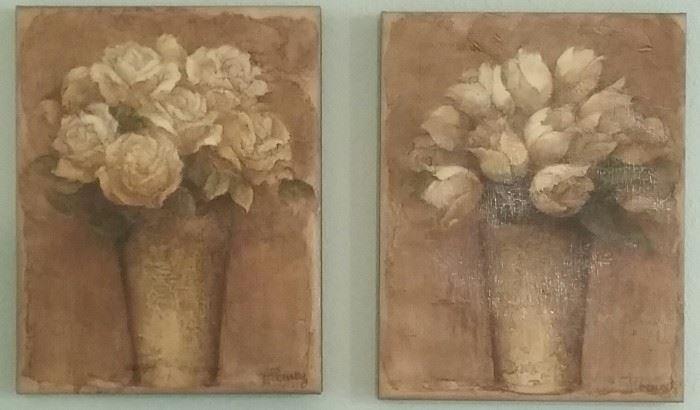 Flower prints on canvas
