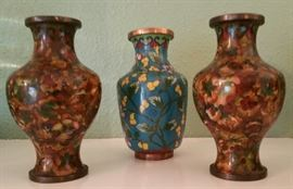 Small vases, pair are painted, blue is Cloisonne