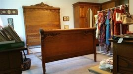 Antique Full bed adapted to a Queen size mattress. (side rails not pictured)