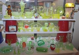 Great collection of Vaseline glass
