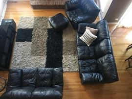 Living Room furniture & Shag rug-leather couch, loveseat and captains chair with ottoman