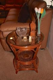 Round Bamboo Side Table with  Tiny Decorative Clocks, Figurine and Decorative Bowl & Vase