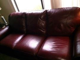 Beautiful burgundy leather sofa