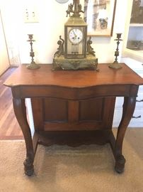 c1880 console table with Marble based clock  with cherubs and candle holders