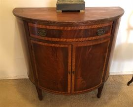 Burled wood demilune console cabinet