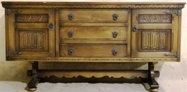 English Jacobean buffet on stretcher base