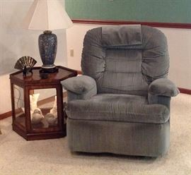 La-Z-Boy Recliner and a Lighted End Table w/Burl Wood