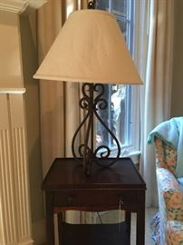 Vintage table - one of a pair of heavy iron lamps