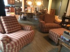 Pair of oversized comfort chairs with matching ottoman. Walter E Smithe