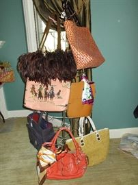Designer purses from MK and others and Coach silk scarves.