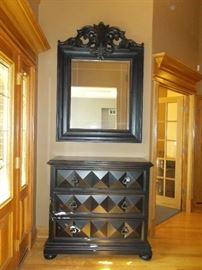 Ebony ball foot dresser with contemporary mirror - stunning combo.