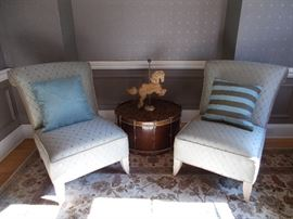 Pair of comfy slipper chairs, outstanding antique drum table.