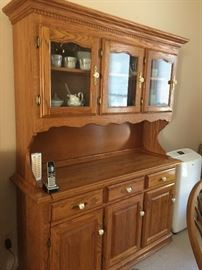 Solid Oak Dinette Set 2 - Hutch Included
