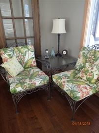 IRON SET WITH CARVED DETAILS AND FLORAL CUSHIONS - 2 SIDE CHAIRS - GLASS END TABLE - SOFA - COFFEE TABLE - TABLE AND CHAIRS
