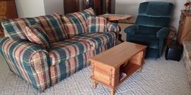 SOFA SLEEPER NEW CONDITION / GREEN RECLINER / SEWING MACHINE TABLE COFFEE TABLE