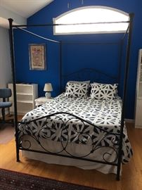 Queen size canopy bed and Dormia memory foam  mattress.  Quilt not for sale.