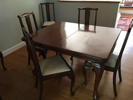 Queen Anne Mahogany Dining Table c. 1840 with one leaf.  Six (6) Queen Anne Dining Chairs c. 1890