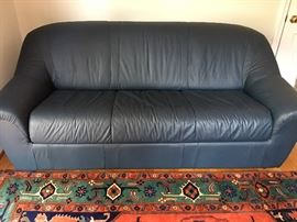 Full size Natuzzi blue leather sleeper sofa