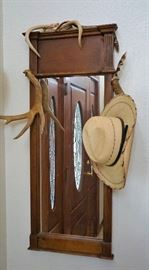 Decorated oak mirror