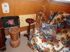 Mid Century Hand Painted TV table(1), Mid Century Tile TV Tables (2)