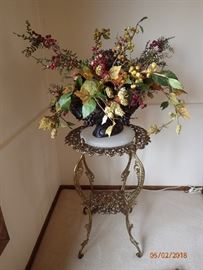 BRASS WITH MARBLE TOP PLANT STAND