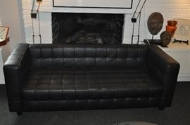 "Rare Vintage Knoll Black leather tufted Sofa, 78""w x 29.5""d x 28""h"