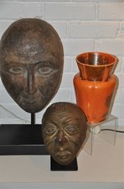 Carved Stone Busts, unknown artists, shown with a gorgeous vintage Pfaltzgraff York Pottery vase #285