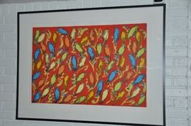"""Hunt Slonem screen print """"Finches Red"""" signed and numbered with conservation glass, 46""""w x 34.5""""h"""