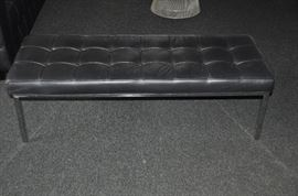 """Stunning Brueton Modular black leather and with polished steel bench, 48""""w x 15""""h x 18.5""""d"""