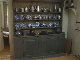 pewter cupboard & flow blue