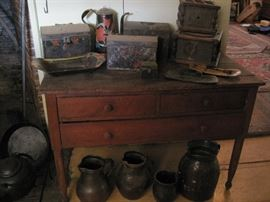 three drawer farm table with stoneware & toleware