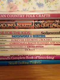 Quilting, sewing, and cross stitch books