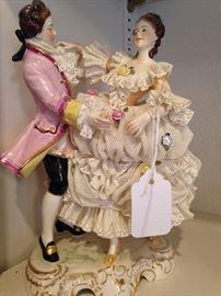 Lace porcelain dancing couple figurine