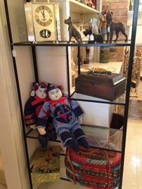 4- shelf etagere; dog figurines; Asian dolls