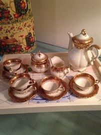 Tea set and tiled tray