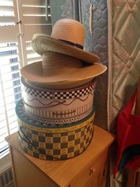 A few of the many hats and hat boxes